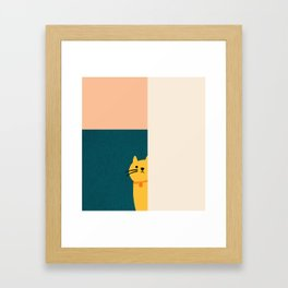 Little_Cat_Cute_Minimalism Framed Art Print