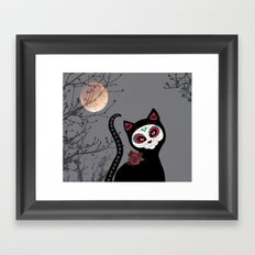 Day of the Dead Cat Framed Art Print
