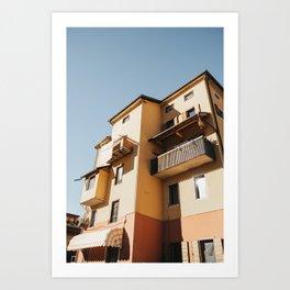 Pale Orange + Yellow Italian Villa | Northern Italian Village, Italian countryside | Travel photography prints Art Print