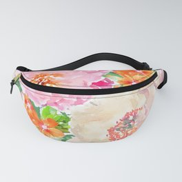 Pink Peony Flowers Fanny Pack