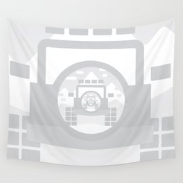 Light Grey digital drawing of a 4x4 adventure vehicle in the mountains Wall Tapestry