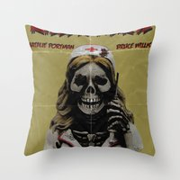nurse Throw Pillows featuring Killer Nurse by Bleachydrew