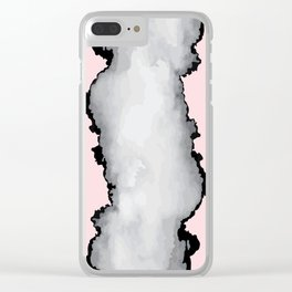 Blush Pink Gray and Black Graphic Cloud Effect Clear iPhone Case
