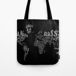 world map typography Tote Bag