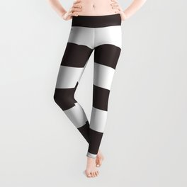 Black coffee - solid color - white stripes pattern Leggings