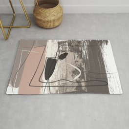 Blush Beige Grey Decorative Abstract painting -1, Colour Symphony abstraction, Rug