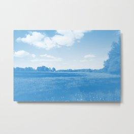 meadow barn clouds wb Metal Print