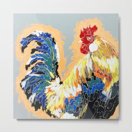 Paint 04 Chuck Funky Rooster Painting Metal Print