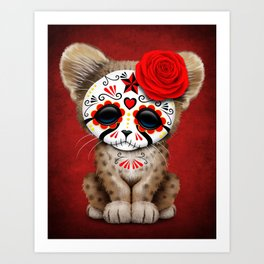 Red Day of the Dead Sugar Skull Cheetah Cub Art Print