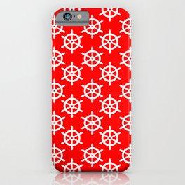Ship Wheel (White & Red Pattern) iPhone Case