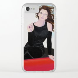 Re-Created Girl in Porsche 356 by Robert S. Lee Clear iPhone Case