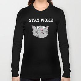 Stay Woke Cat Funny Kitty Long Sleeve T-shirt