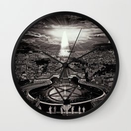 Vatican Rocking View Black and White Wall Clock