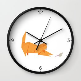 Origami Cat and Mouse Wall Clock