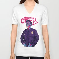 obey V-neck T-shirts featuring OBEY by Mike Wrobel