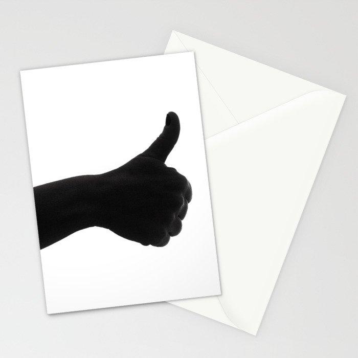 Silhouette hand ok symbol Stationery Cards