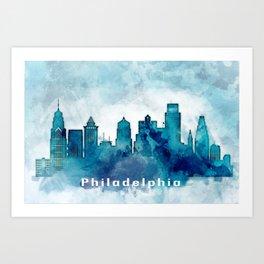 Blue Watercolor Dallas skyline design Art Print