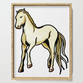 Akhal-Teke Ахал-Теке Akhal Teke Horse Riding Cartoon Drawing Serving Tray
