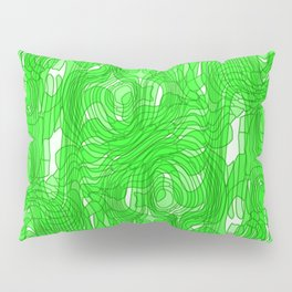 Subtle interweaving of sparkling smudges from green lava and light chaotic cycle. Pillow Sham