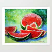 watermelon Art Prints featuring watermelon by OLHADARCHUK