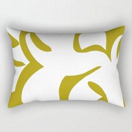 Geometric Abstract Floral Design Pattern Mustard  Rectangular Pillow