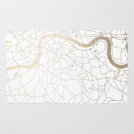 White on Gold London Street Map Rug