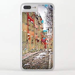 Acorn Street, Boston, USA - Burnt Edges Clear iPhone Case
