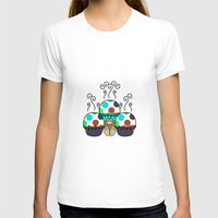 polkadot T-shirts featuring Cute Monster With Cyan And Blue Polkadot Cupcakes by Mydeas