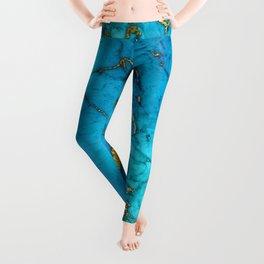 Gold And Teal Blue Indigo Malachite Marble Leggings