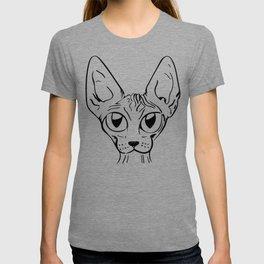 Sphynx Cat Cartoon - Sphynx Cat Drawing - Sphynx Illustration - Black and White - Ink T-shirt