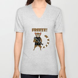 Unique & Funny Ringtail Cat Tshirt Design Officer Unisex V-Neck