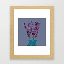 Lavender stems (bluegrey) Framed Art Print