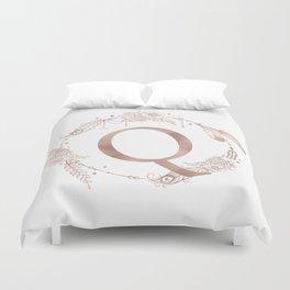 Letter Q Rose Gold Pink Initial Monogram Duvet Cover