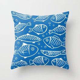 Fish blue white Throw Pillow