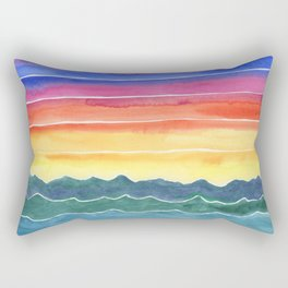 Mountains of Waves Watercolor Painting Rectangular Pillow