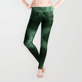 Green Star Flower Blossom Metallic Color #Pattern #Background Leggings