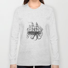 Octopus Attacks Ship on White Background Long Sleeve T-shirt