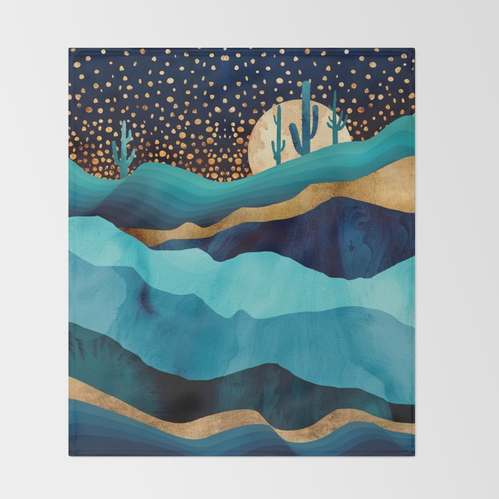 Indigo Desert Night Throw Blanket