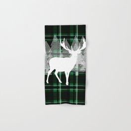 Green Plaid with Deer: Holiday Print Hand & Bath Towel