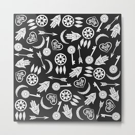 Modern Black and White Popular Symbols Metal Print