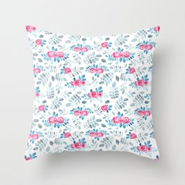 Romantic fuchsia blue gray watercolor hand painted roses Throw Pillow