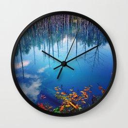 Blue Pond, Hokkaido, Japan Wall Clock