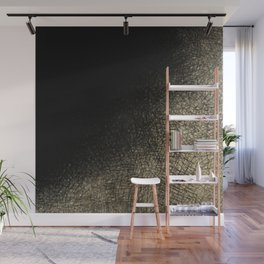 Modern abstract black gold watercolor brushstrokes Wall Mural