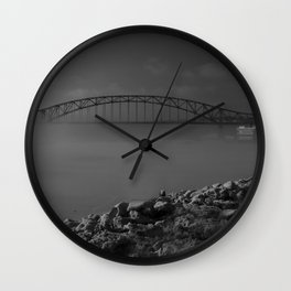 Julian Dubuque Bridge and the Mississippi River Wall Clock