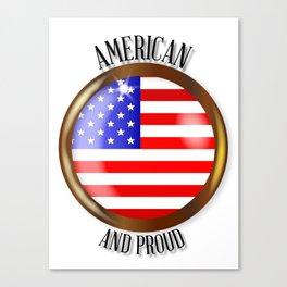 American Proud Flag Button Canvas Print