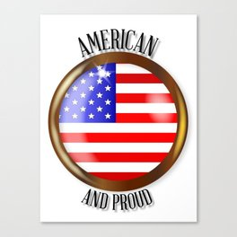 American Proud Flag Button Canvas Print