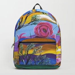 Pretty in Pink, Pink floral landscape, Abstract Landscape Backpack