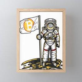 Bitcoin Astronaut To The Moon BTC Blockchain Gift Framed Mini Art Print