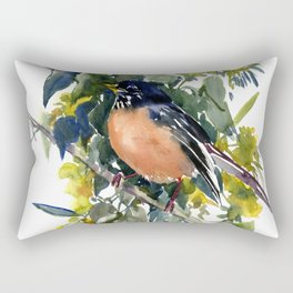 American Robin on Linden Tree, Deep blue Cottage Woodland style design Rectangular Pillow