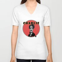 charlie V-neck T-shirts featuring Charlie by Todd A. Winter